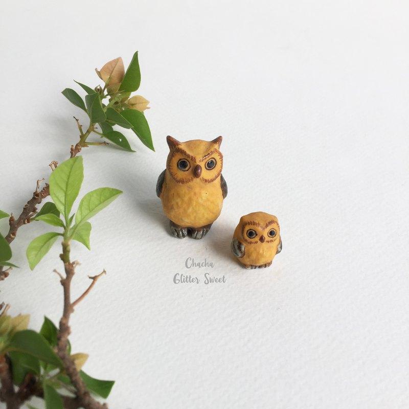 雙貓頭鷹 - 小動物雕像