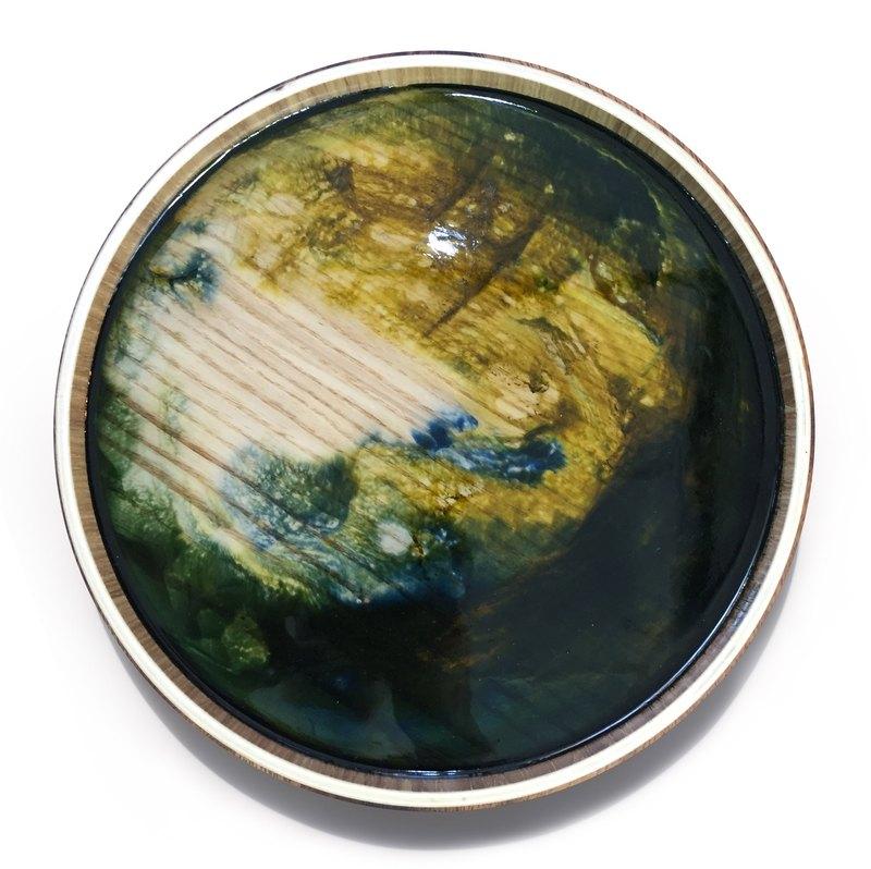 【秋綠藍湖・木製トレイ扥盤】30cm
