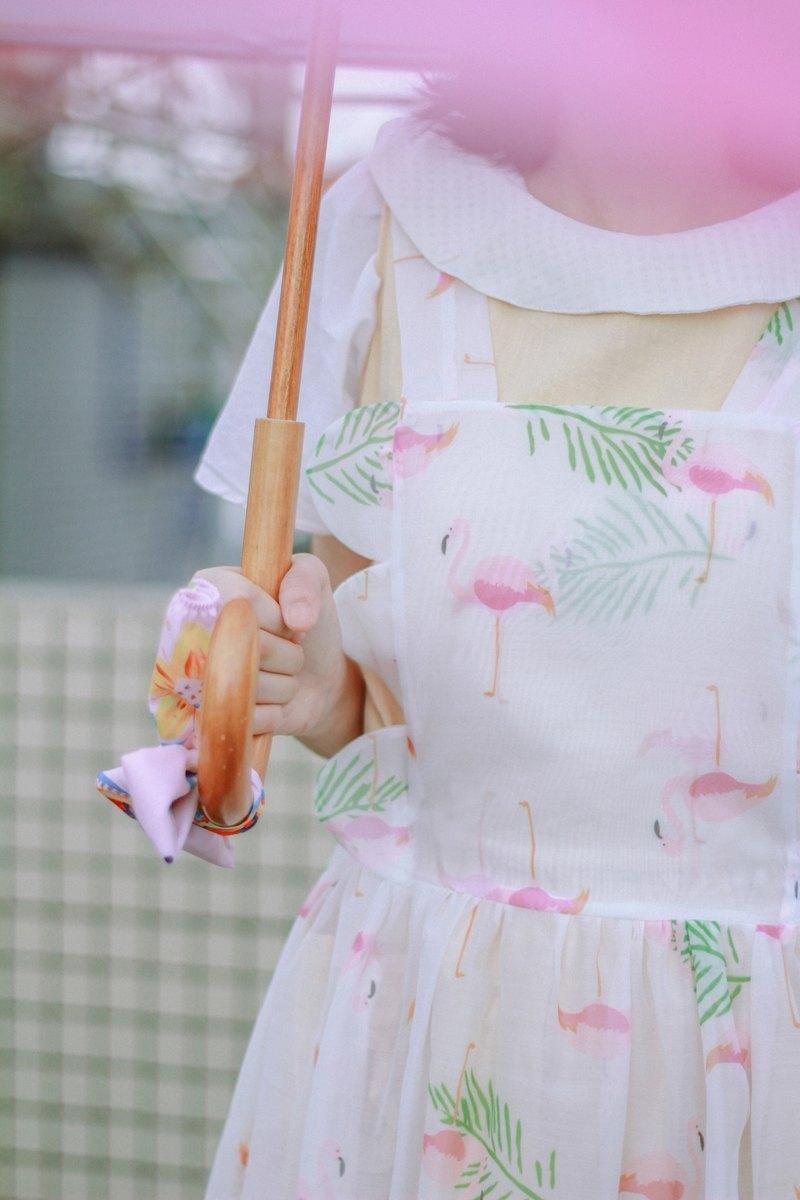 火烈鸟绿叶子欧根纱裙搭配洋裝裙子(心心糖)系列 [巫猫牌*Rita·Handmade ]