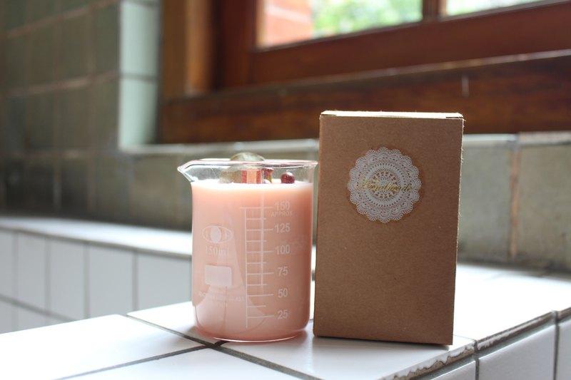 春夏系列-燒杯款 l 乾燥花大豆蠟燭。粉色系療癒感