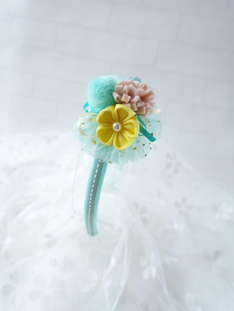 頭飾 - 和風小花頭箍 髮箍 (薄荷綠色)