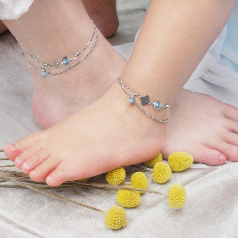 【親子腳鍊雙鍊組】全不銹鋼湛藍海的回憶_紀念刻印 姊妹腳鍊