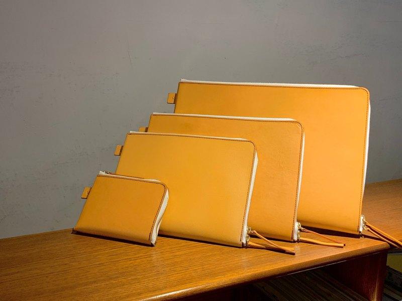 真皮筆電平板手拿包 拉鍊電腦包 L型短夾零錢包 手工植鞣革 商務