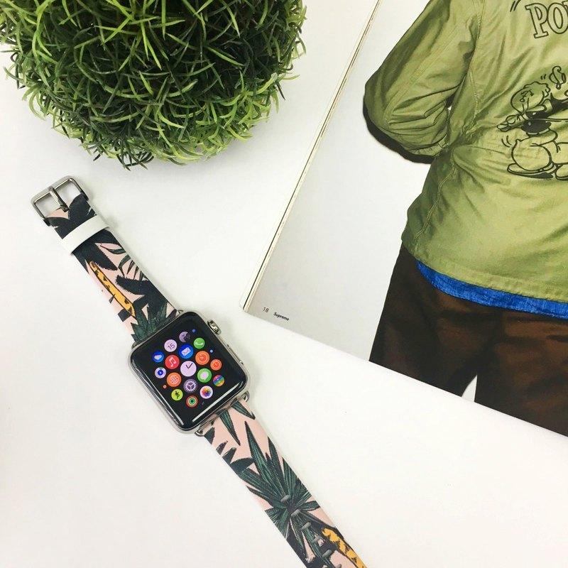 Apple Watch Series 1 - 5 粉紅色檀香山樹葉圖案 38 40 42 44 mm