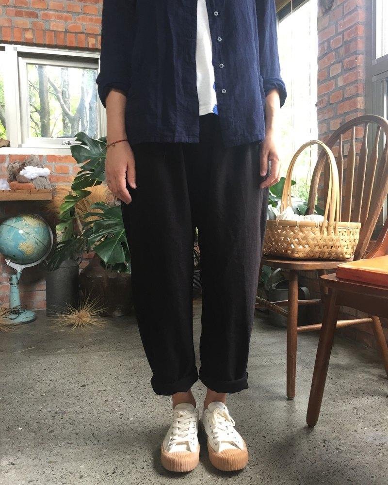 棉麻材質反摺小管褲