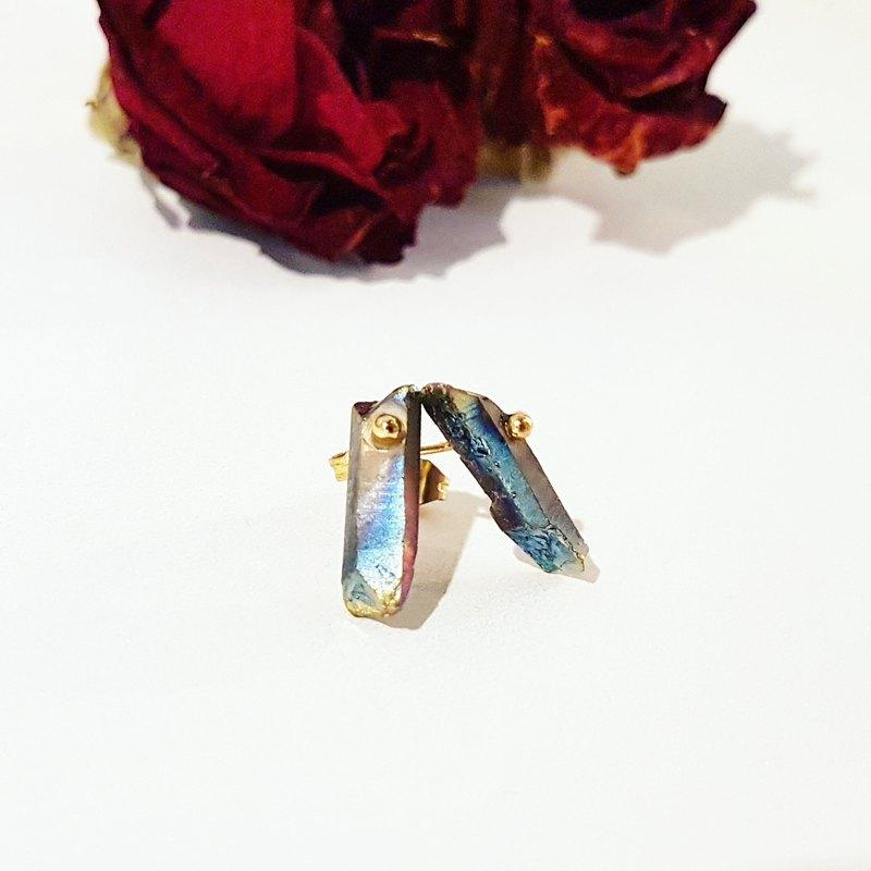 獨家-彩虹色mini石英石原礦銅貼式耳環_免費修改夾式耳環