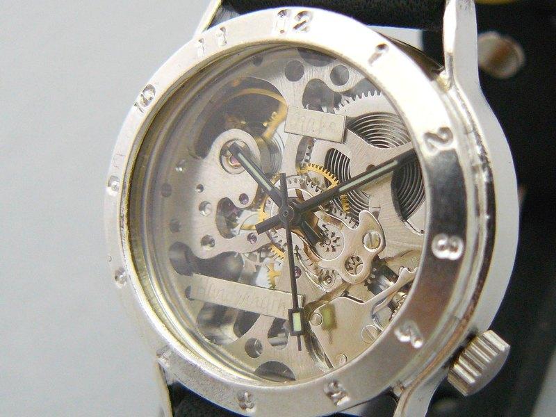 SHW027阿拉伯表圈手動上鍊銀色925男士32毫米手工手錶(SHW027阿拉伯語)