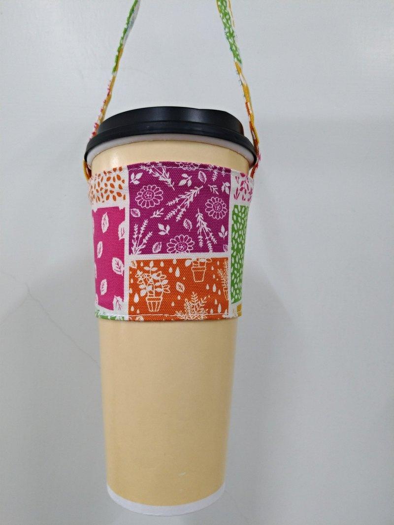 飲料杯套 環保杯套 手搖飲料袋 咖啡袋 手提袋-森林風(粉桃紅)
