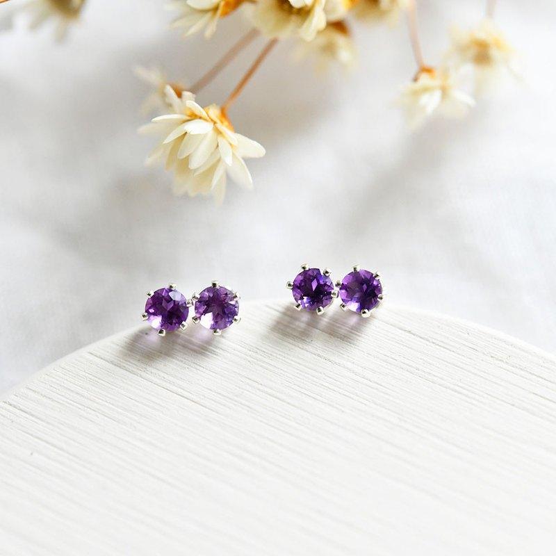 愛情紫水晶耳釘的護衛石可用4毫米1對2月誕生石