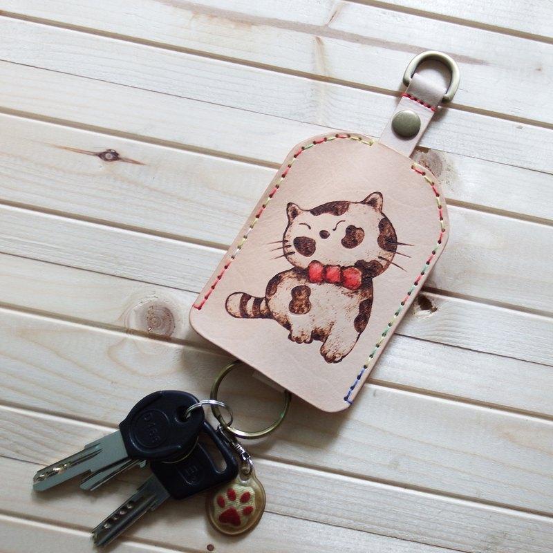 手作植鞣皮革鑰匙包神氣貓