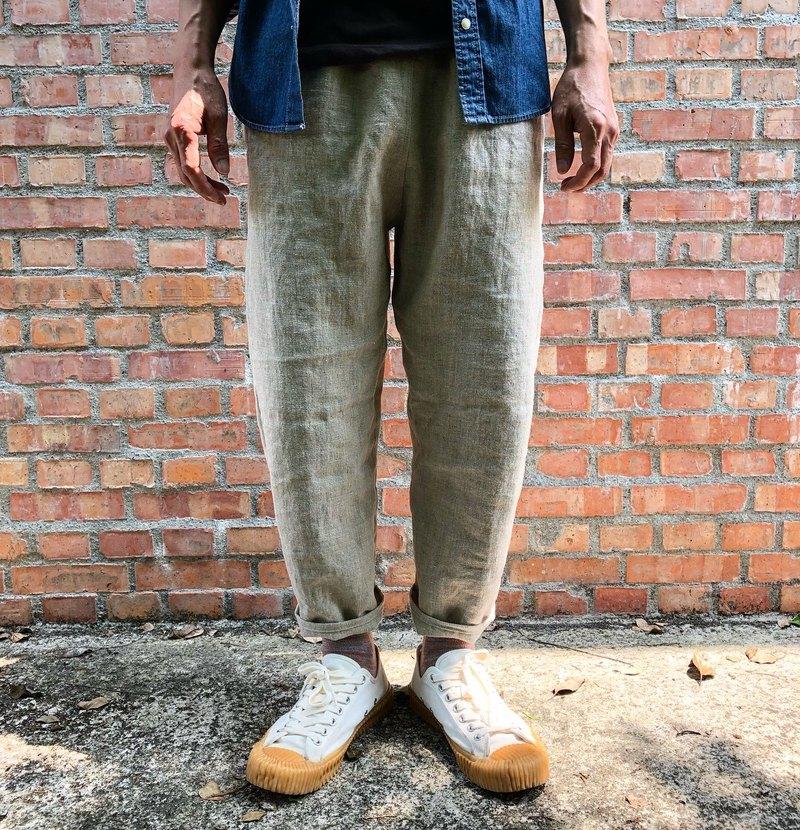 男孩的 厚磅雨露麻小管褲