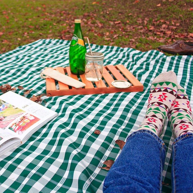 戶外兩用桌巾/野餐墊 經典格紋 特大款(綠白細格)