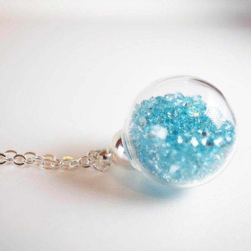 A Handmade 湖水藍色水晶玻璃球頸鏈