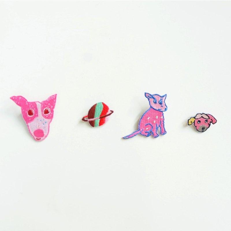 粉紅小不點狗刺繡別針