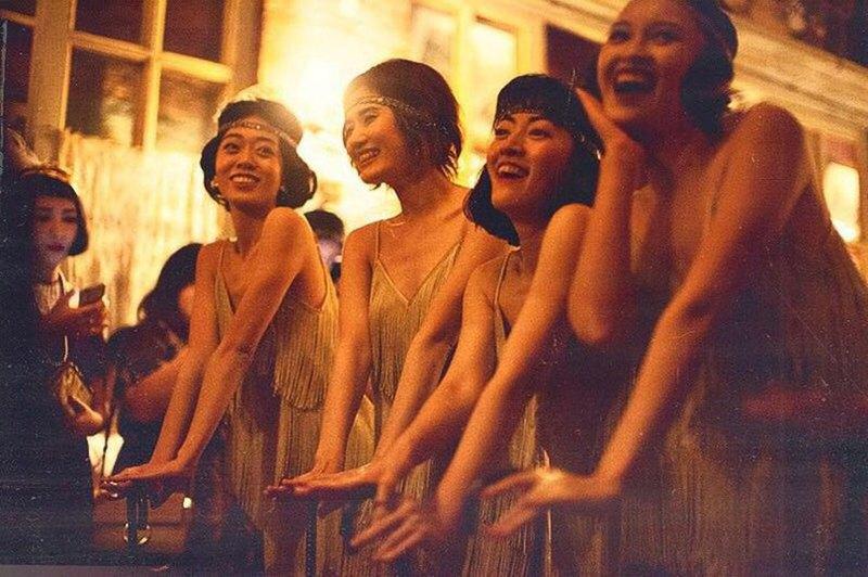 ShimmyShimmy復古Gatsby香檳色三層流蘇吊帶裙搖擺舞伴娘年會禮服