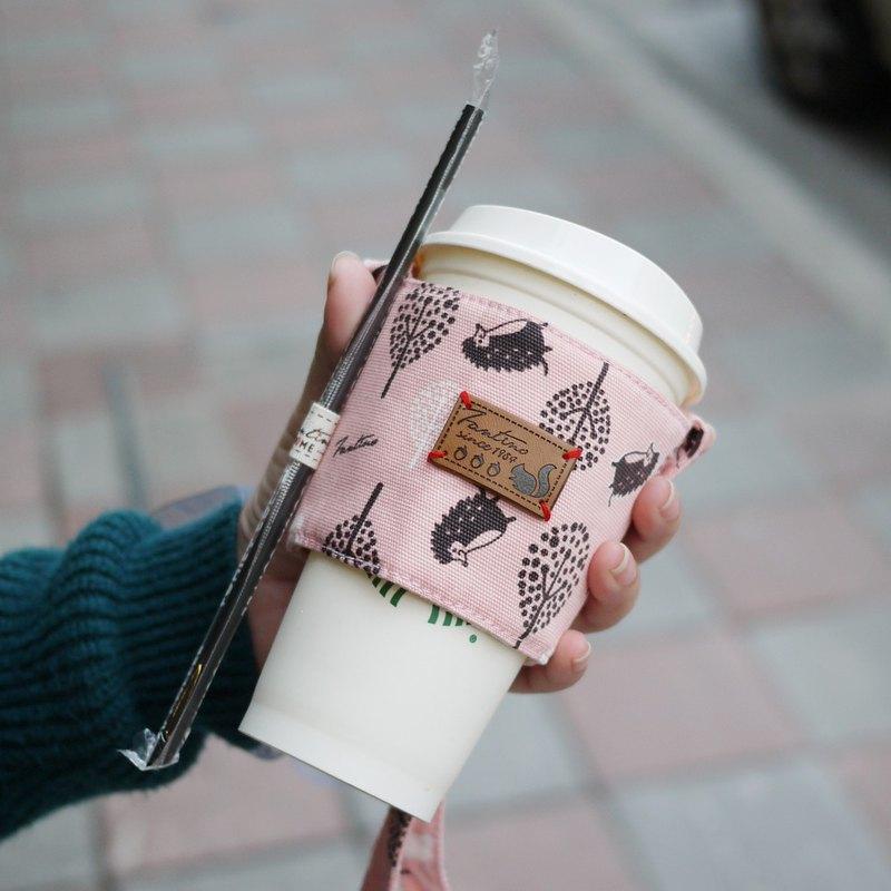 布花雙層隔熱飲料提袋 -叢林躲貓貓- (櫻花粉)/交換禮物