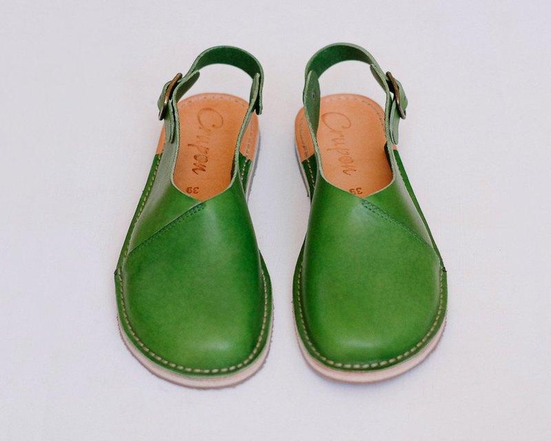 女士涼鞋、夏季鞋、平底涼鞋、綠色涼鞋、露跟涼鞋、皮革涼鞋