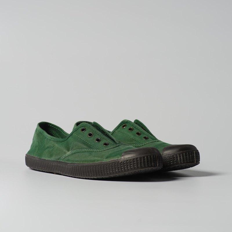 西班牙帆布鞋 CIENTA U70777 60 綠色 黑底 洗舊布料 大人
