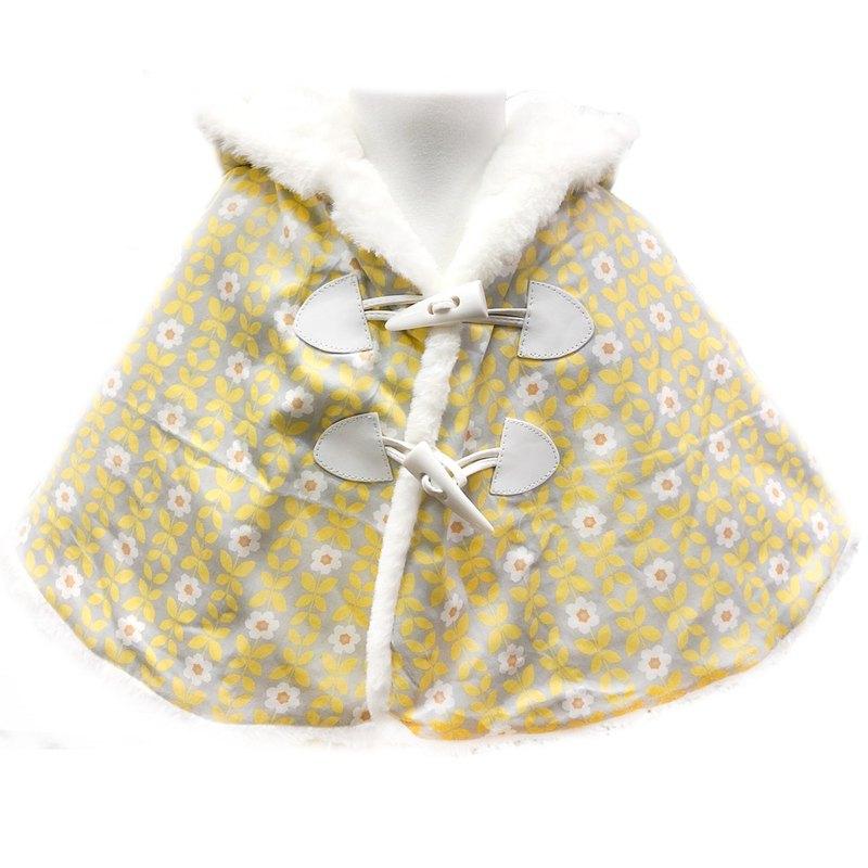 保暖毛絨連帽斗篷 披風外套 印花款 黃小花