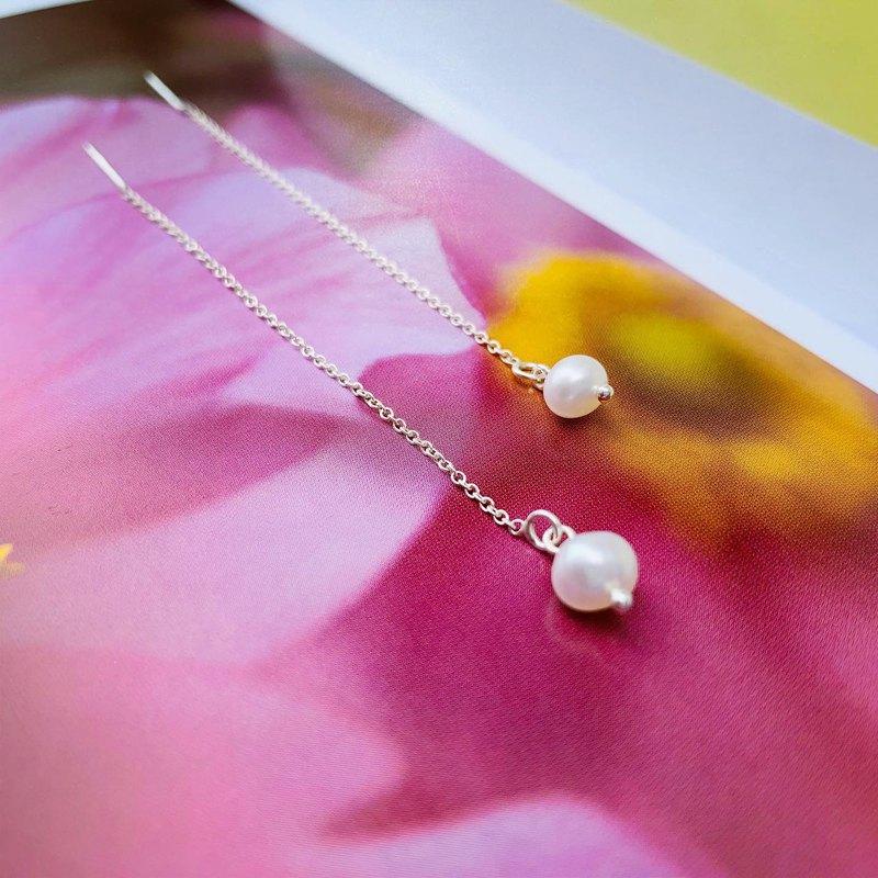 925純銀 / 氣質簡約 • 小珍珠耳鍊