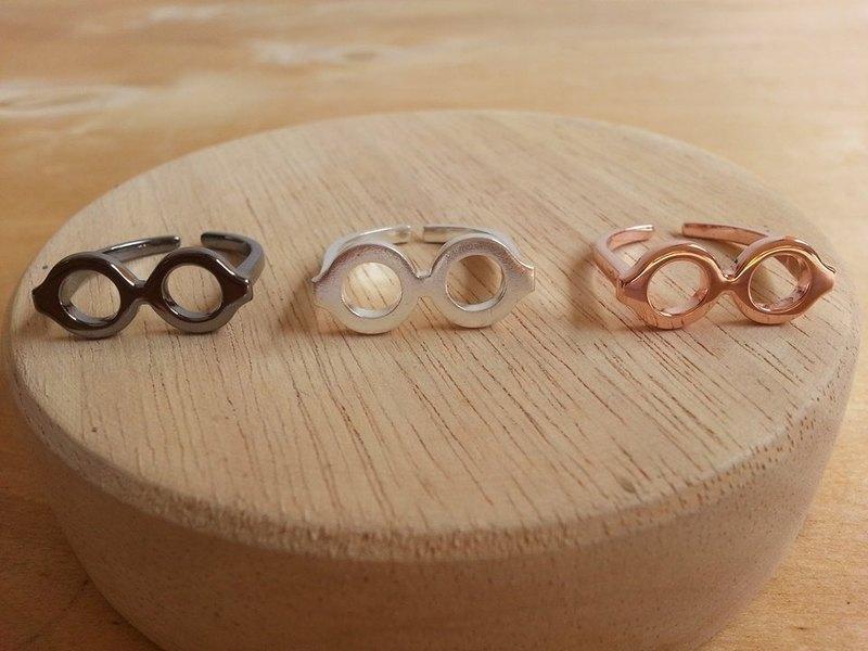 眼鏡銀戒指黑色鍍銠,白金,玫瑰金。