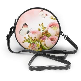 咲くバラ ピンク 蝶 ショルダーバッグ レディース 斜めがけ フェイクレザー 肩掛けバッグ トートバッグ チェーンバッグ 財布 デート 旅行 ハンドバッグ トップハンドルサッチェル おしゃれ 丸形 バッグ