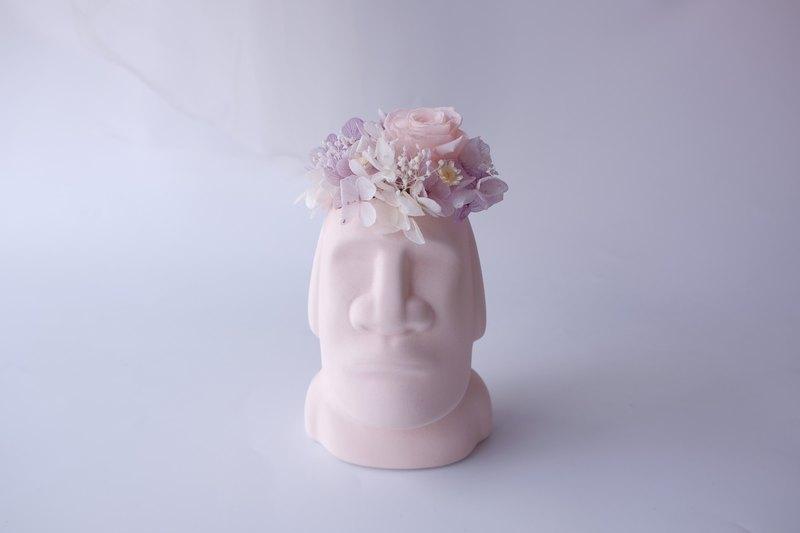 【摩艾巨人】 粉色/黃色/灰色/不凋花/永生花/乾燥花/盆栽