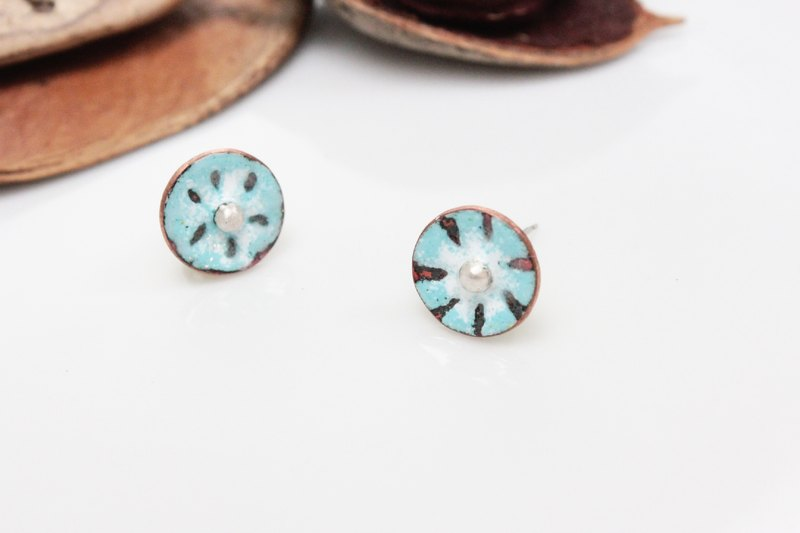 HinduLotus III 春之荷琺瑯耳環(藍)