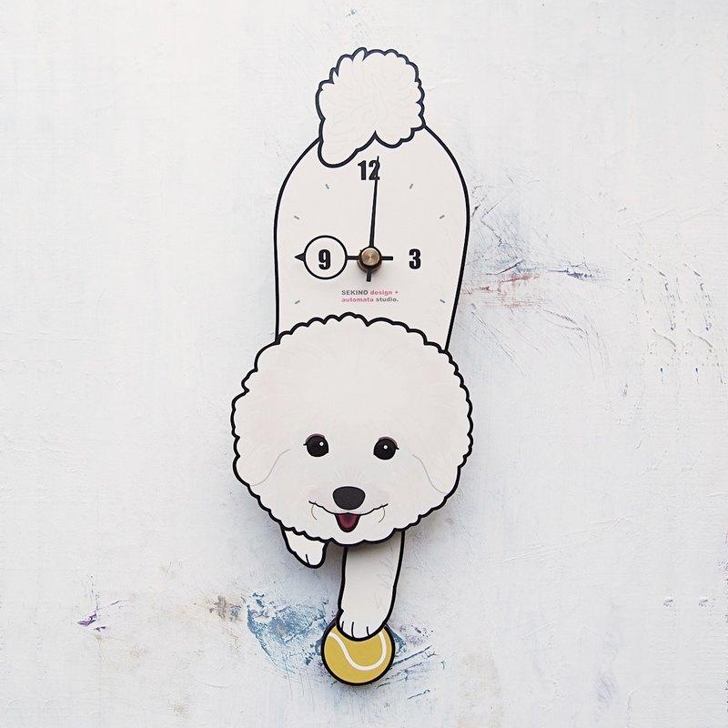 D-26 比熊犬 - 動物造型鐘擺鐘