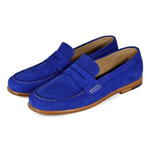 Sweet Villians M1108 手工真皮素面飾帶樂福鞋 寶藍色
