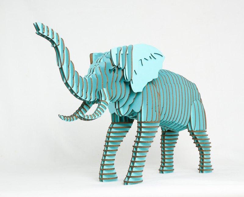 大象居家擺飾  3D手作 淺藍色/環保紙材/Pinkoi限定獨家販售