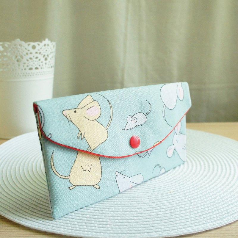 Lovely【起司鼠年紅包袋】存摺套、現金收納袋、湖綠