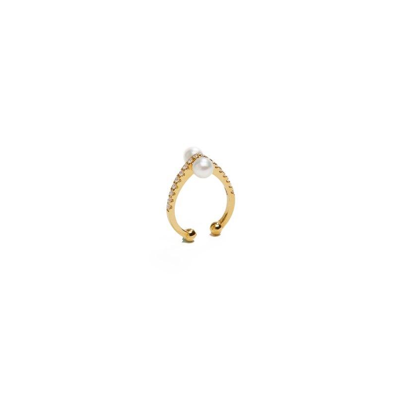 珍珠鑽石尖角耳扣 925銀厚鍍18K金 Rosette P/D Earcuff - 玫瑰金