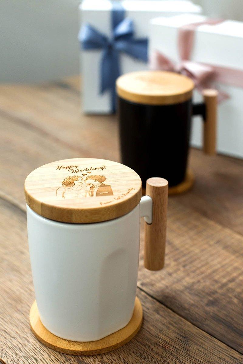 【客製化】質感木柄馬克杯禮盒 -附竹杯蓋杯墊