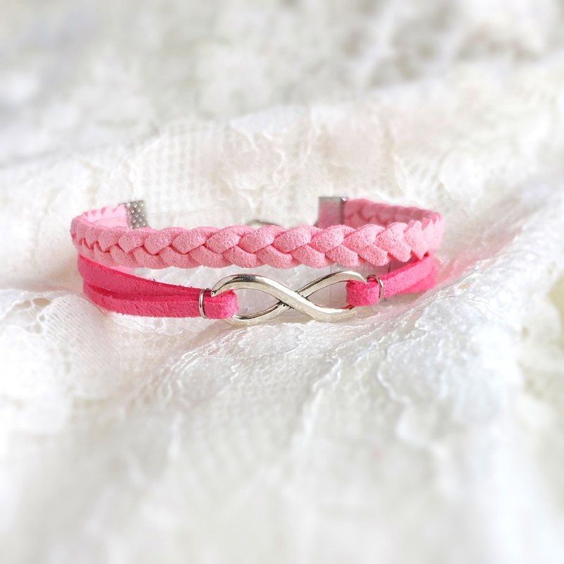 Infinity 永恆 手工製作 雙手環-粉紅 限量