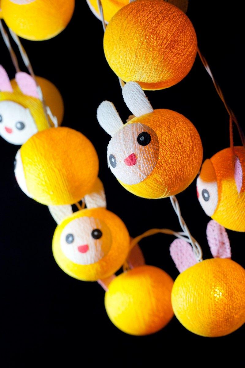 20可愛的黃兔 - 棉花球串燈家居裝飾,黨,臥室,庭院裝飾
