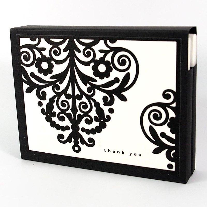 盒卡-黑色花紋兩款各5共10入【Hallmark-卡片 無限感謝/多用途】