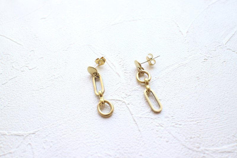 日日-黃銅耳環-可改夾