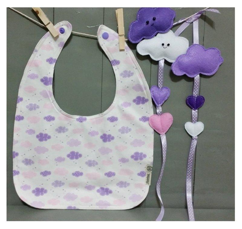 北歐風格可愛紫色白雲圖案圍兜、口水巾, 原創手工製作.彌月禮物