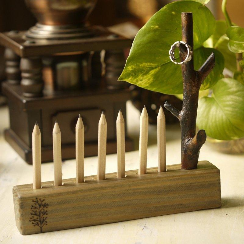 樟木樹支筆筒筆座 文青風 文具用品 辦公用品