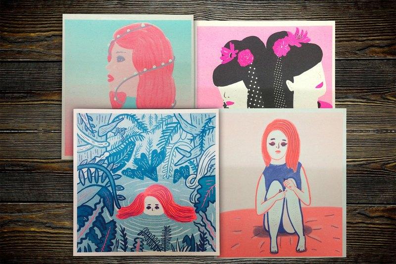 Risograph 女孩小海報 孔版印刷 叢林 粉紅 聖誕