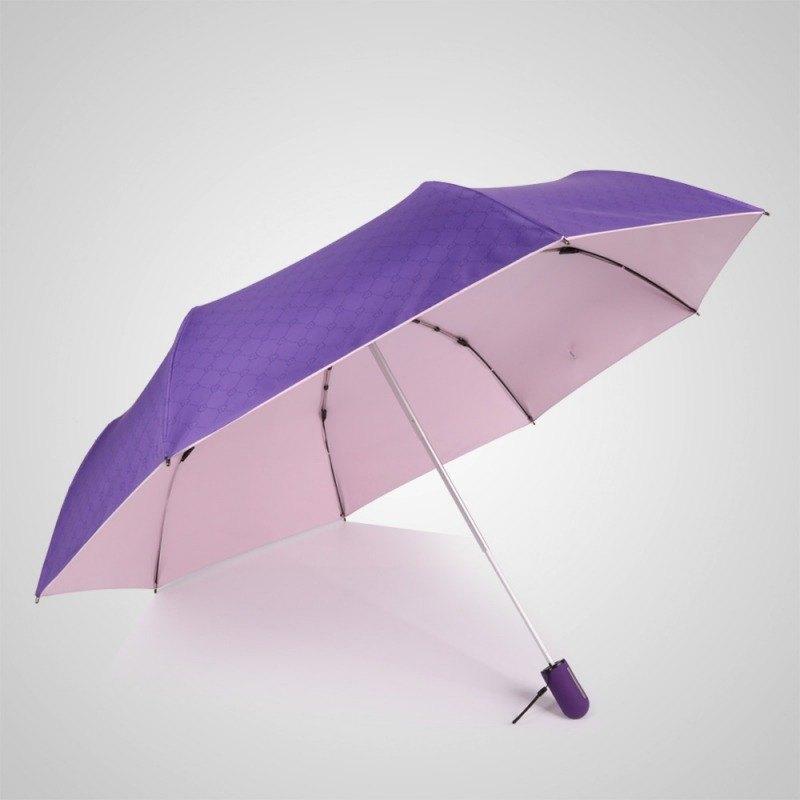 【德國kobold】抗UV粉紅女王系列-矽膠蜂巢-按摩手把-遮陽防曬三折傘-貴氣紫