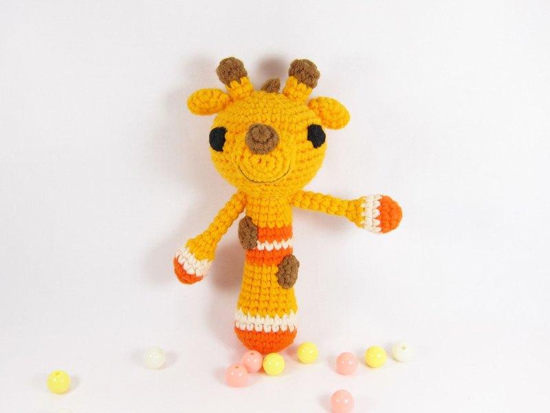 長頸鹿-寶寶手搖鈴-手工彌月禮(亮橘)