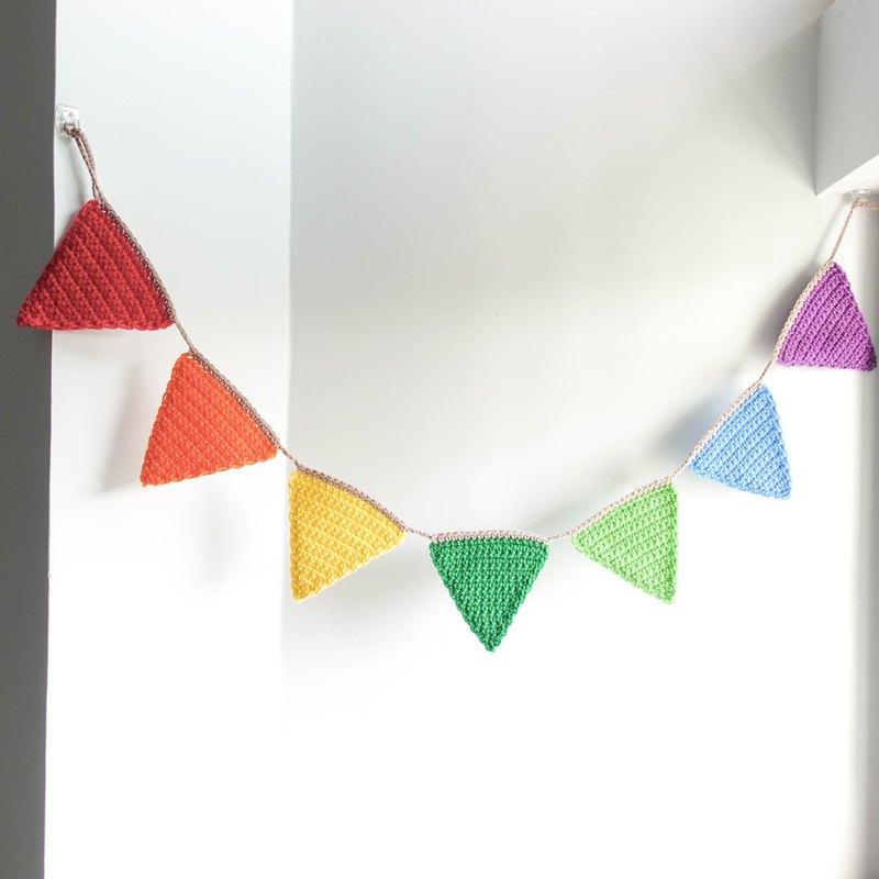 編織彩虹三角旗 (派對/露營/野餐/生日佈置裝飾) 掛旗 掛飾 吊旗