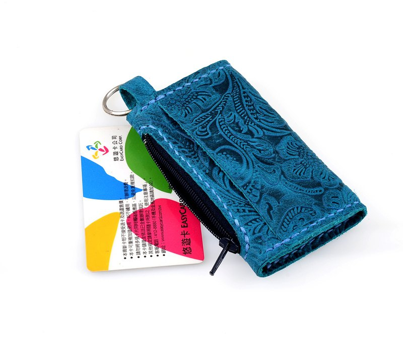 【U6.JP6 手工皮件】-手作皮革縫製藍綠色卡片零錢包(男女適用)