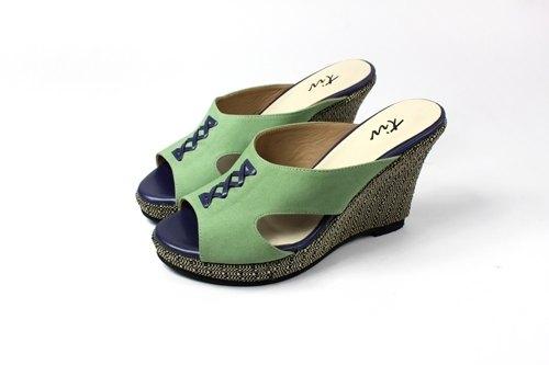 綠 楔型涼拖鞋