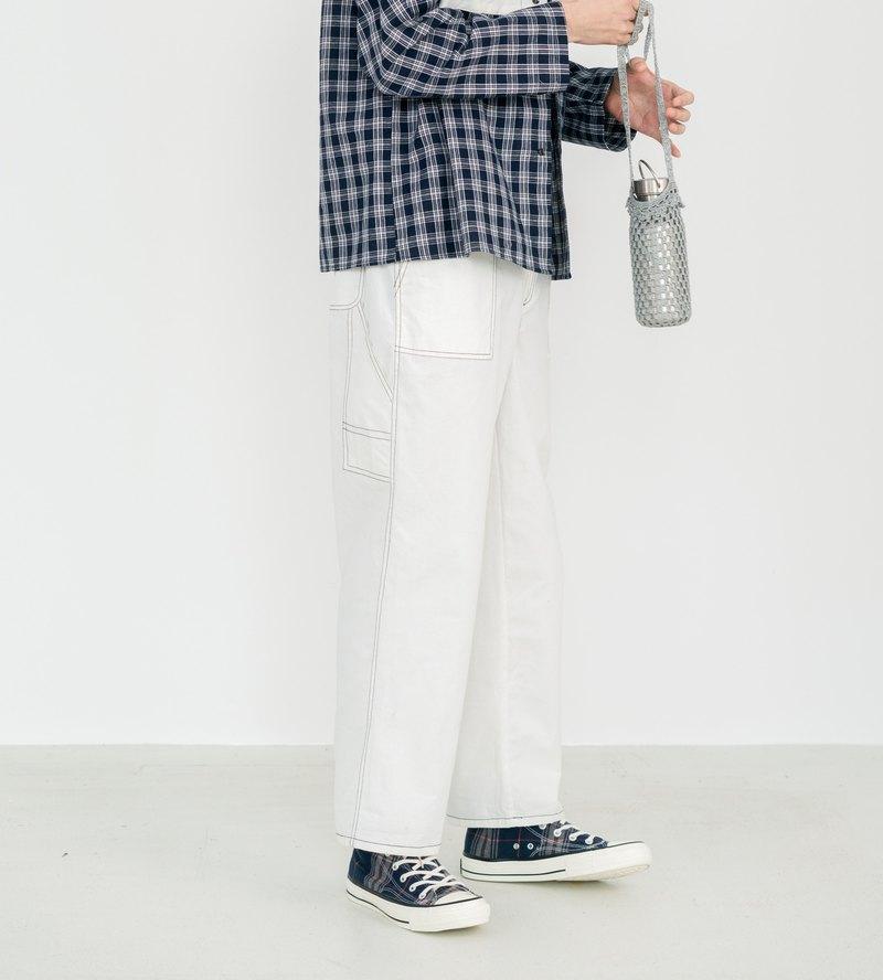 明線裝飾白色休閒長褲 日系復古 男女同款 獨立設計 通勤風