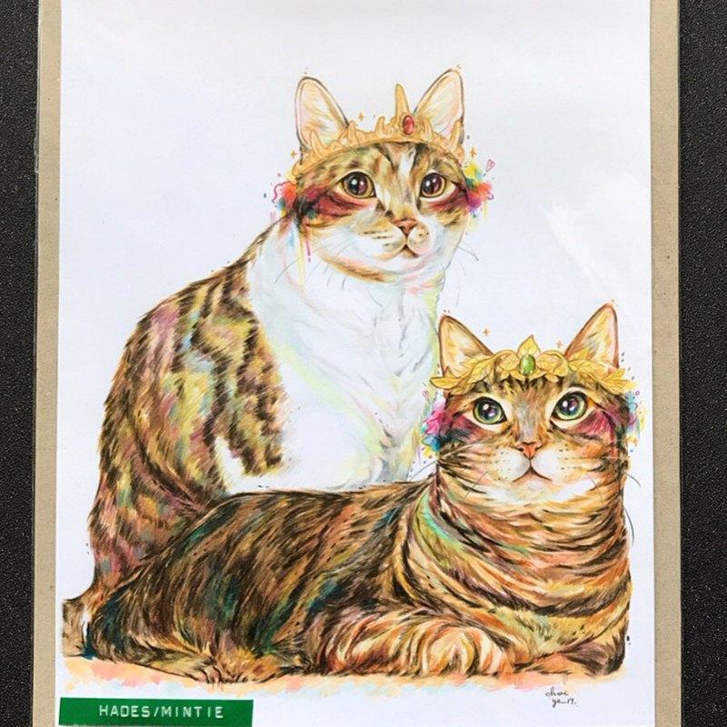 """Pet Portrait 寵物肖像 / 21x30cm (8x12"""") / 兩隻一張 / 色鉛筆"""
