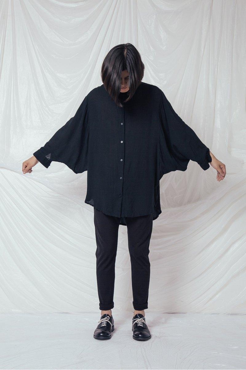 定制设计款纯色OVERSIZE蝙蝠衫 宽松衬衫 男女情侣百搭款