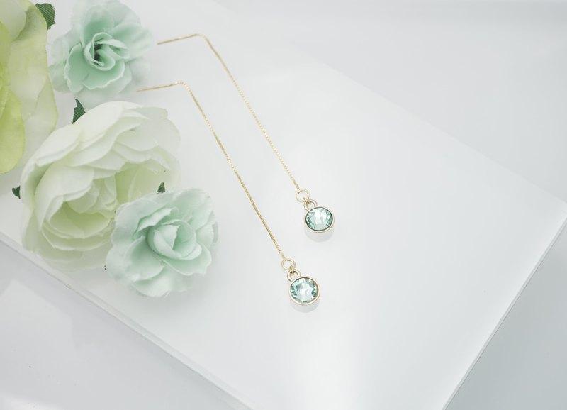 綠寶石水晶純銀耳環 耳鏈